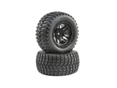 LOSI - Black Wheel and Tire Mounted (2): 22S ST